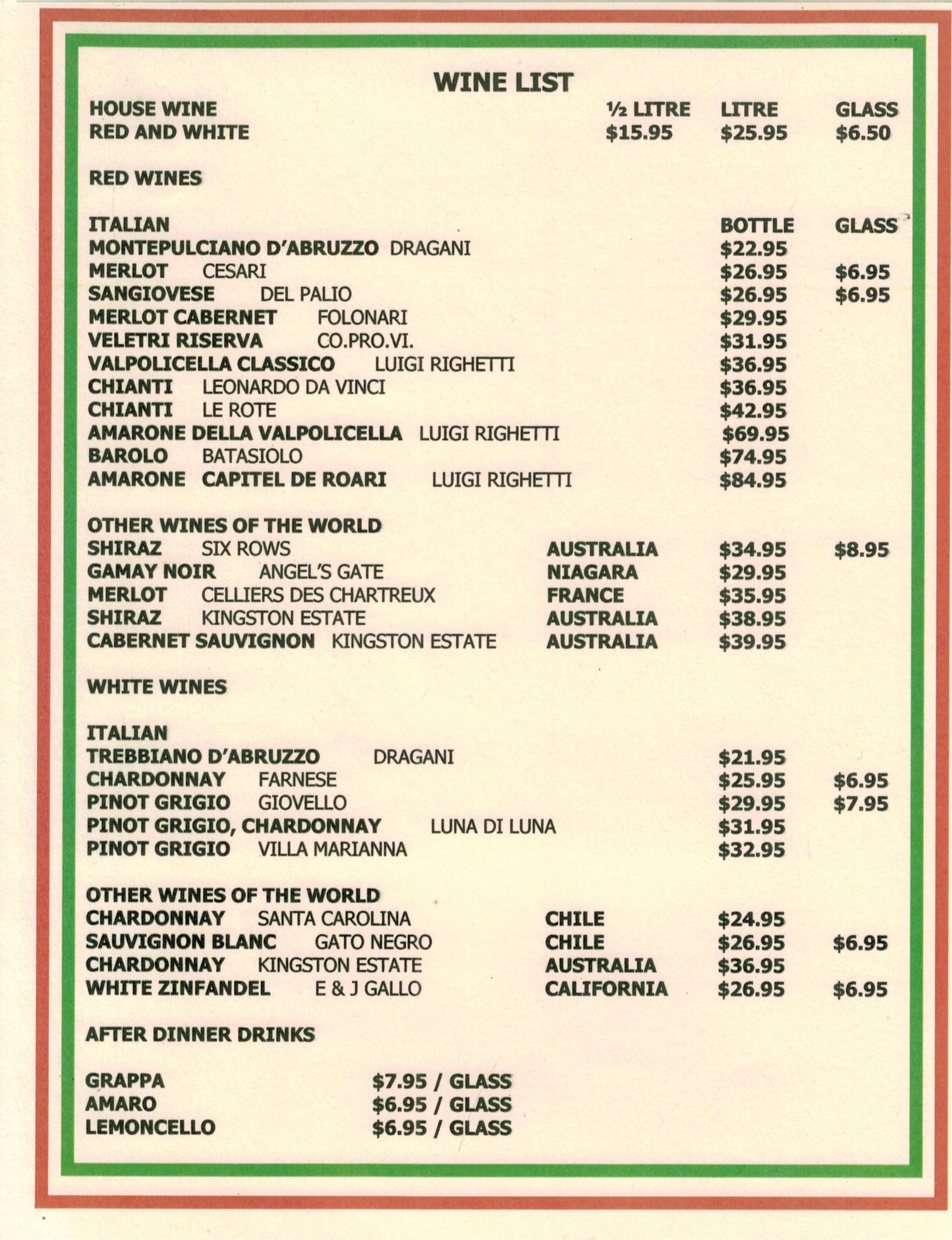 List Of Lunch Menu Lunch Menu Wine List